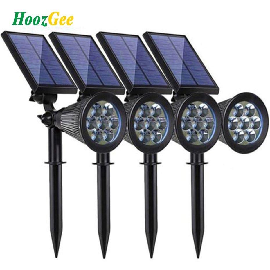 HoozGee Solar Spotlight Lawn Flood Light Outdoor Garden 7 LED Adjustable 7 Color in 1 Wall Lamp Landscape Light for Patio Decor