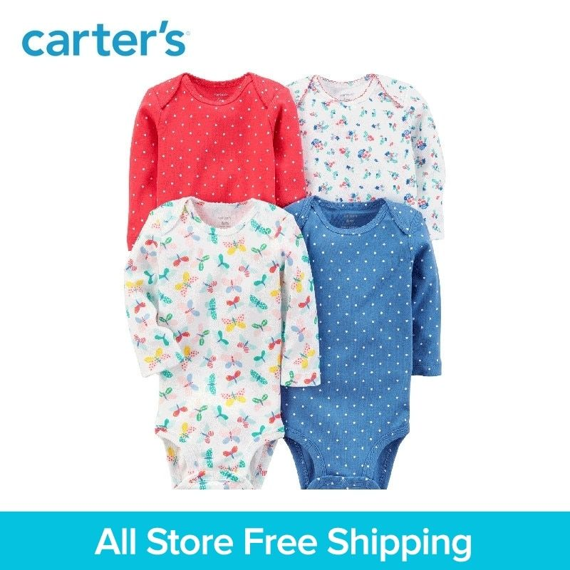 4pcs Cotton Long-Sleeve sweet prints Bodysuits sets Carter's baby girl clothing sets All Seasons 126H316