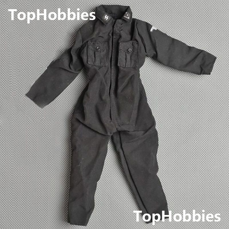 1:6 Scale Veyron World War II German Armored Forces Black SS Jumpsuit Clothes For Doll Model Toy Fits 12