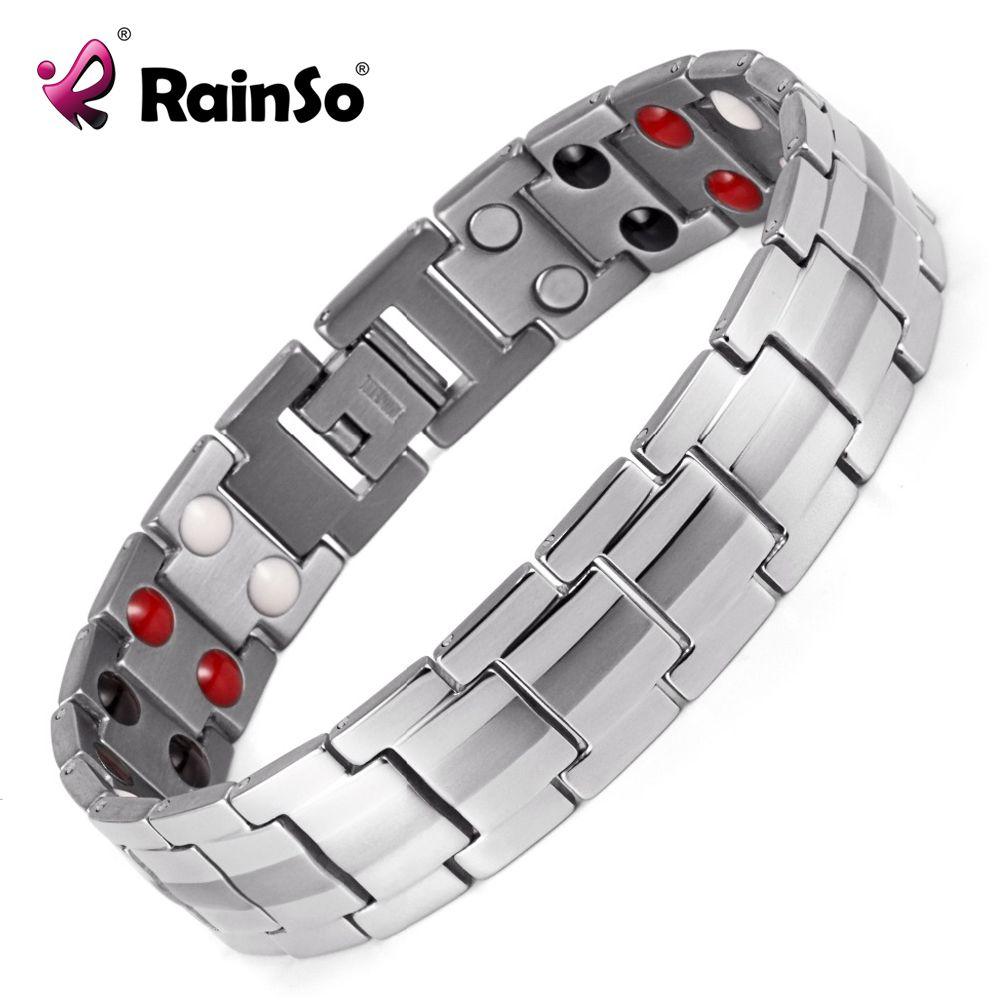 Rainso Hommes de Double Rangée 4 Éléments Soins de Santé Magnétique Bracelet Argent Acier Inoxydable Thérapie Bracelets Meilleur Cadeau OSB-1537S