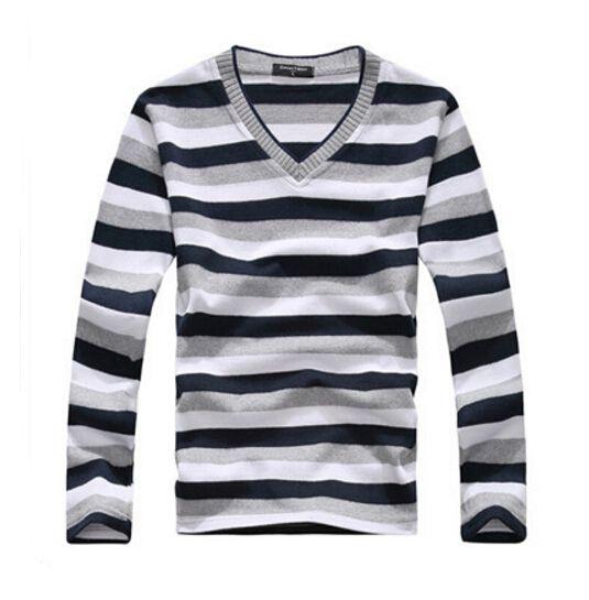 Новинка 2017 г. мужская с длинными рукавами хлопок в полоску свитер Мода и горячие пуловер мужчины новый бренд оптовая продажа