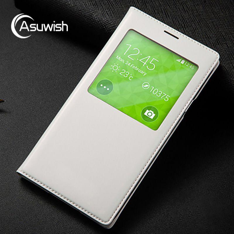 Asuwish Smart View Fenêtre Cas Auto Sommeil Wake Couverture de Téléphone Shell avec IC Puce Pour Samsung Galaxy S5 Mini G800 G800F G800H G800M