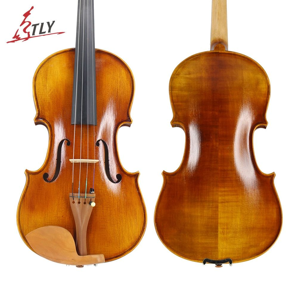 TONGLING Full Size 4/4 Advanced Violin Handcraft Semi-light Finished Spruce Face Flamed Maple Violin Jujube Pegs w/ Full Parts