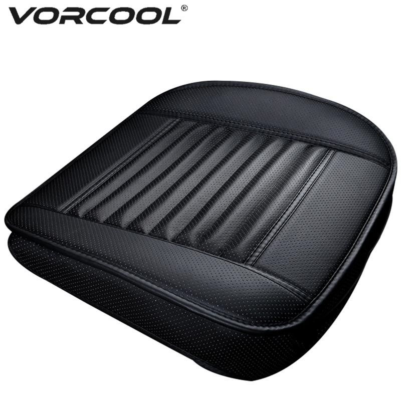 VORCOOL Four Season Single <font><b>Seat</b></font> without Backrest PU Leather Bamboo Charcoal Car <font><b>Seat</b></font> Cushion Car Protective Cover <font><b>Seat</b></font>
