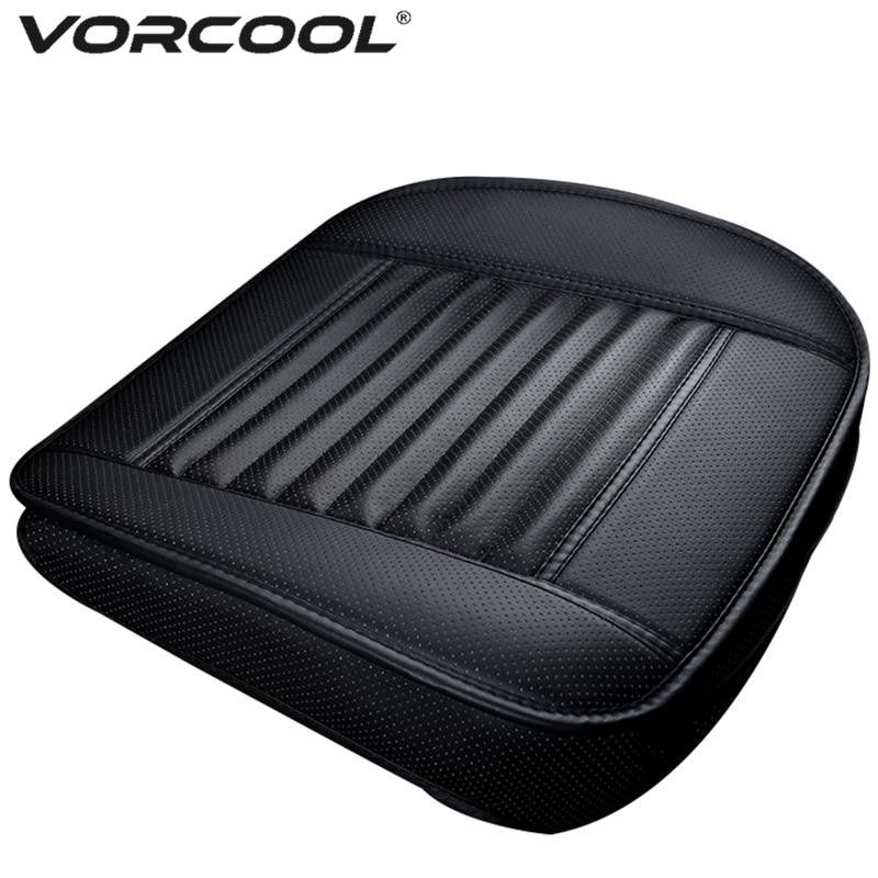 VORCOOL <font><b>Four</b></font> Season Single Seat without Backrest PU Leather Bamboo Charcoal Car Seat Cushion Car Protective Cover Seat