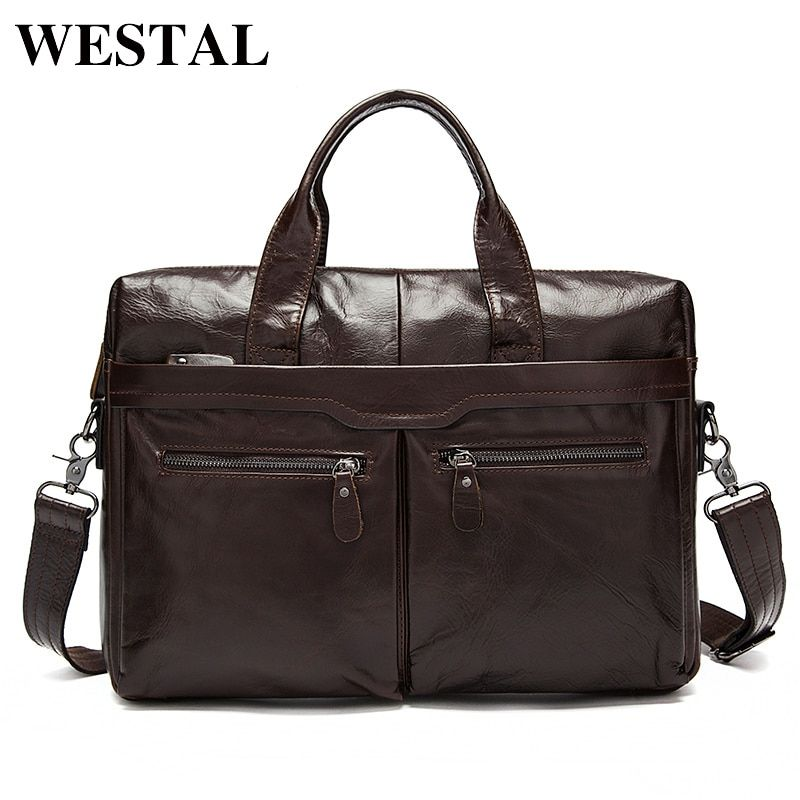 WESTAL Men's Bag Genuine Leather Shoulder Crossbody Bags Male Messenger Bag Men Leather <font><b>Laptop</b></font> Bags Briefcases Men Tote handbags