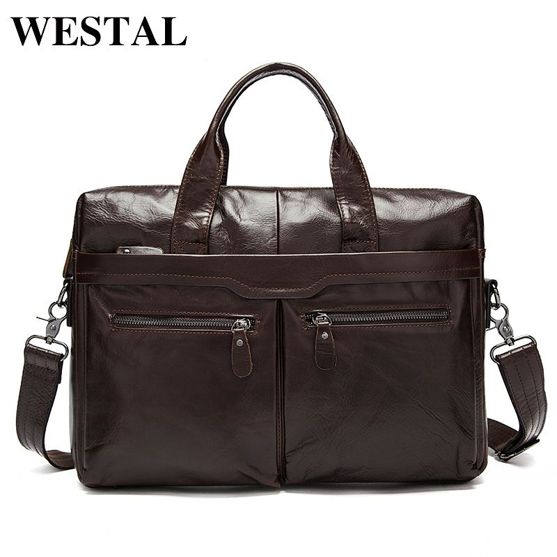 WESTAL Mens Bag Genuine Leather Men Laptop Shoulder Bag Men's Crossbody Bags Male Messenger Bag Men Leather Briefcases Men Tote