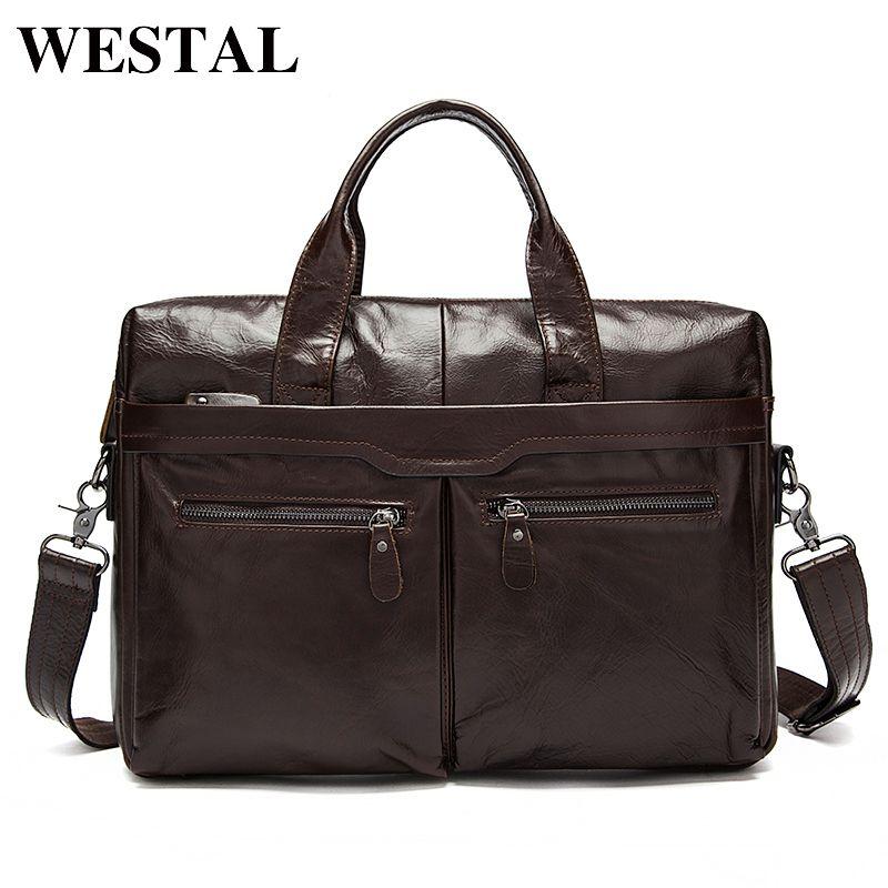 WESTAL Mens Bag Genuine Leather Men Laptop Shoulder Bag Men's Crossbody Bags Male Messenger Bag Men Leather Briefcases Men Tote