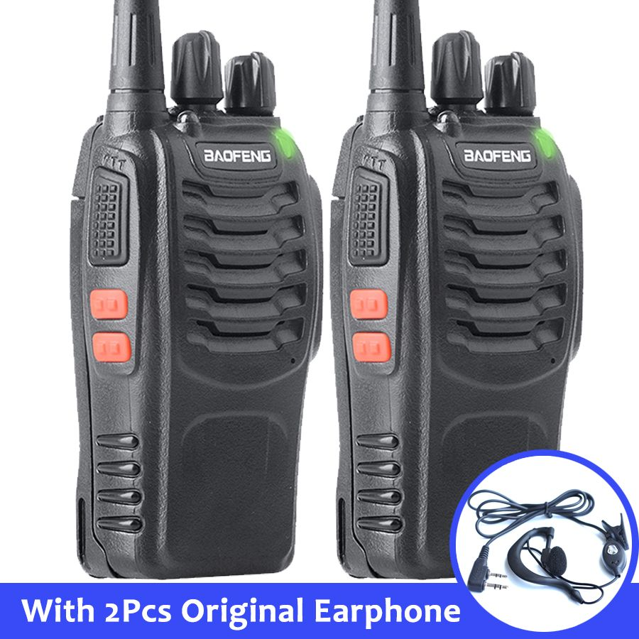 2pcs Baofeng bf-888s Portable Walkie Talkie 16CH bf 888s Two Way Radio UHF 400-470MHz 2 Pcs Hunting Transceiver with Earphone