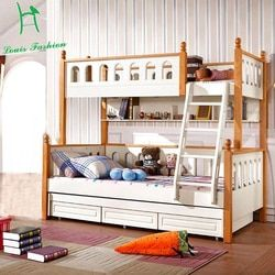 Louis Fashion Double solid wood bunk bed for children Mediterranean wind