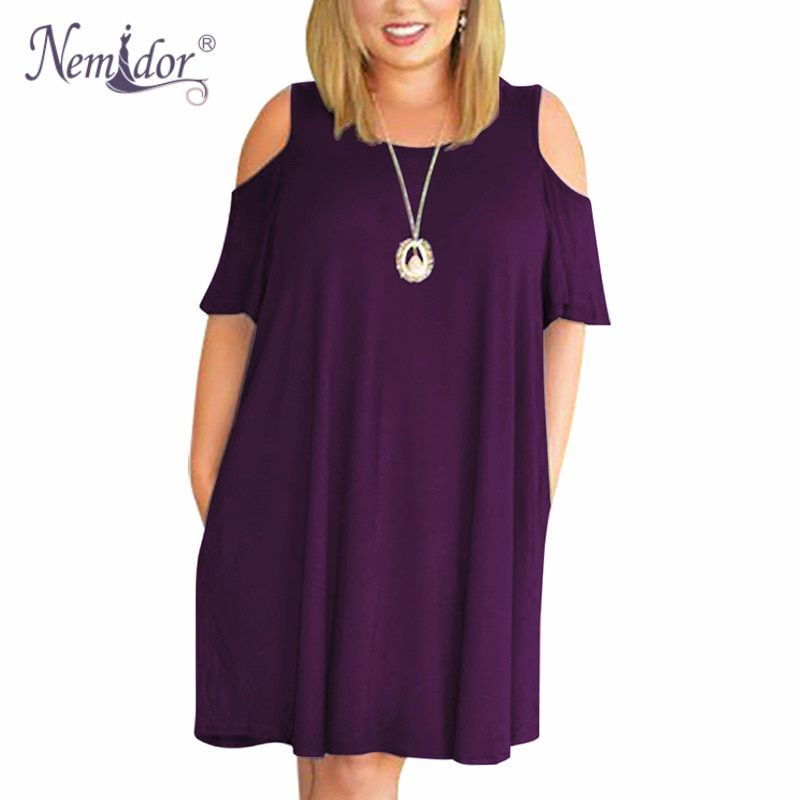 Nemidor Women Casual O-neck Off The Shoulder Midi Plus Size Summer Dress Short Sleeve Loose Vintage Dress With Pockets