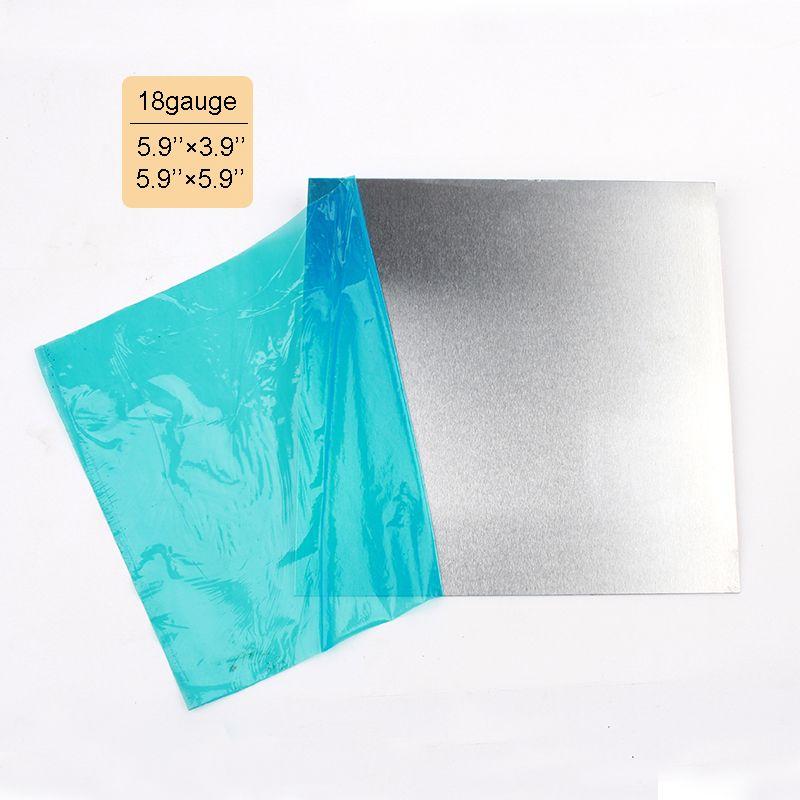 Épaisseur 1.0mm plaque de tôle d'aluminium de calibre 18 150mm * 100mm 150mm * 150mm artisanat bijoux bricolage matériaux fournitures Film de protection bleu