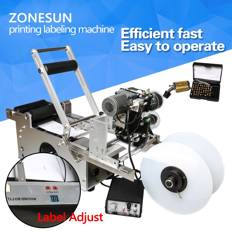 ZONESUN LT-50D Semi automatic Labeling Machine,drugs bottle,medicine bottle labeling machine with date printer,printing