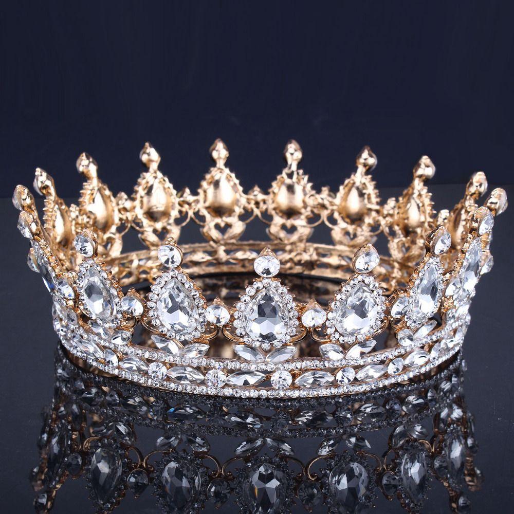 Luxe Vintage Or De Mariage Couronne Alliage Diadème De Mariée Baroque Reine Roi Couronne Or Couleur Strass Tiara Couronne