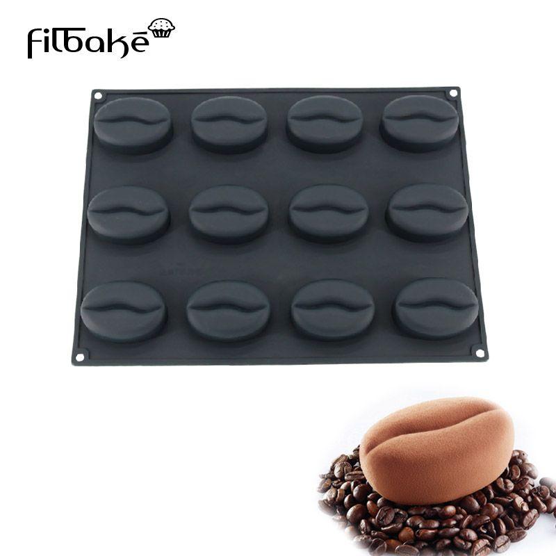 Filbake 12 Полость Кофе Bean Форма силиконовые торт выпечка плесень Кухня выпечки кондитерских Инструменты антипригарным 100 мл