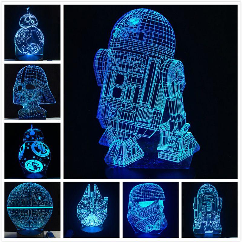 2018 NEW 3D Lamp Death Star War R2D2 BB-8 Darth Vader Stormtrooper Knight LED Table NIGHT LIGHT Multicolor Cartoon Toy Luminaria