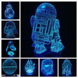 2018 nuevo 3D lámpara muerte guerra R2D2 BB-8 Darth Vader Stormtrooper Caballero mesa LED noche luz Multicolor juguete de la historieta luminaria