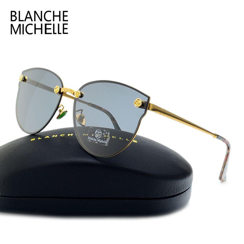 2018 New Fashion <font><b>Rose</b></font> Decoration Polarized Sunglasses Women Cat Eye UV400 Brand Designer Sun Glasses Mirror Sunglass With Box