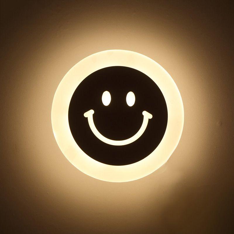 Creative LED sourire visage applique murale Simple enfants dessin animé chambre lumière Ultra-mince acrylique porche allée lanternes Passage Luminaire