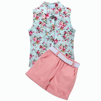 Enfants Vêtements 2018 Sans Manche D'été Style Bébé Filles Chemise + Shorts + Ceinture 3 pcs Costume Enfants Vêtements Ensembles De Mode style