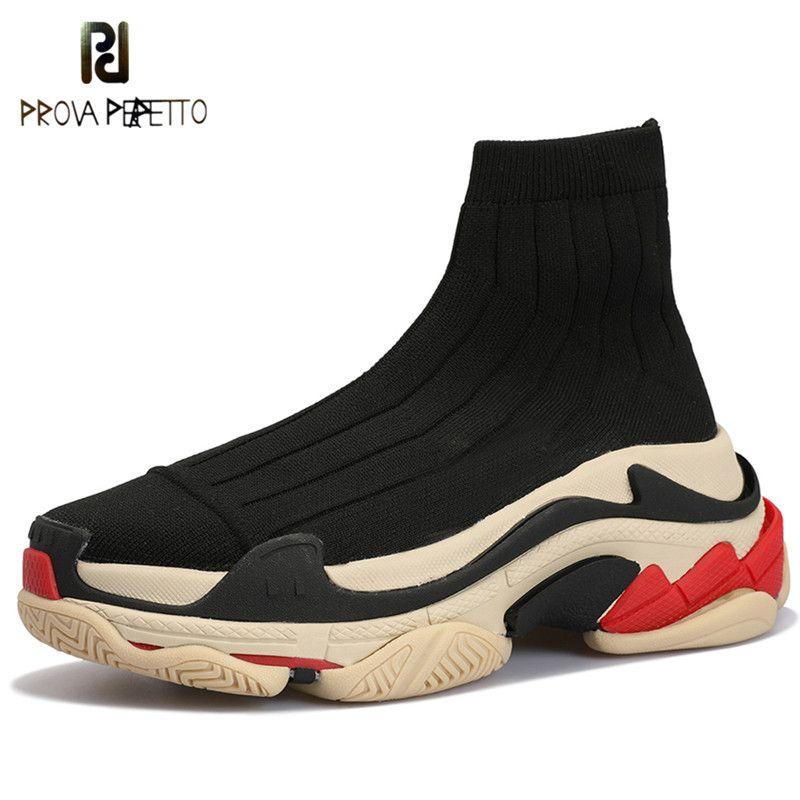 Prova Perfetto New Fashion High Top Sneakers Frauen Slip-on Platform Creepers Weiblichen Beiläufigen Flachen Damen Schuhe Stretch Socke stiefel