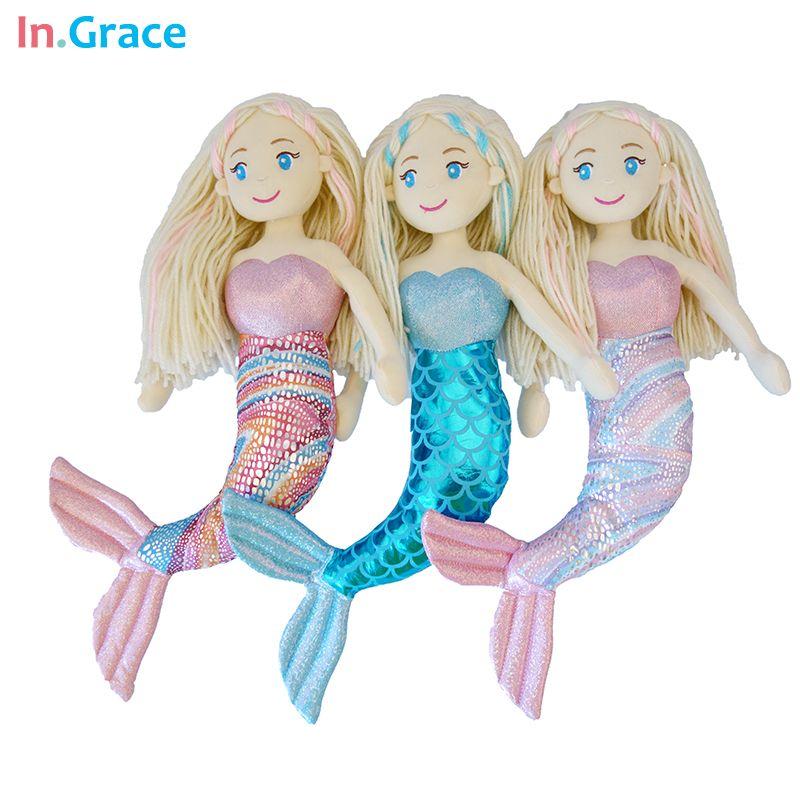 Poupées sirène en peluche de marque avec queue incurvée jouets pour fille super belle petite sirène 10 couleurs 18 pouces poupées de mariage bébé poupée