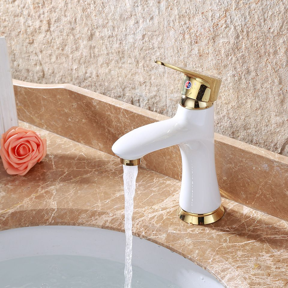 Bathroom Basin Baked White Paint Faucet Brass With Crystal Body Tap Mixer Cold Single Handle Hot Cold Tap