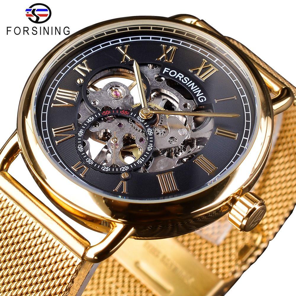 Forsining classique noir doré squelette horloge maille bande Design étanche hommes mécaniques montres Top marque de luxe Montre Homme