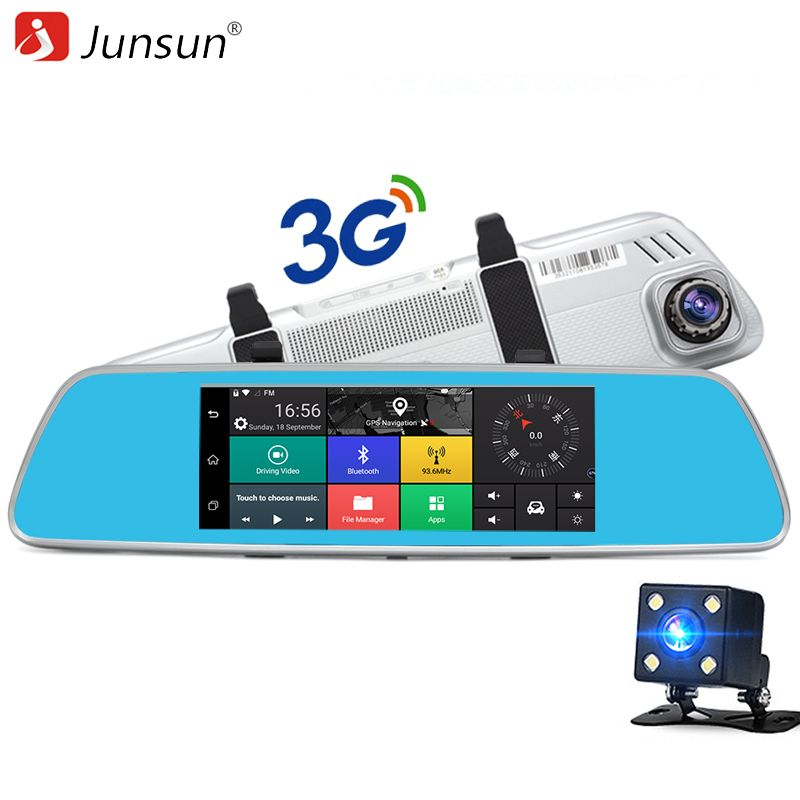 Junsun A760 3G Car DVR Mirror Video Camera 7 Android 5.0 Dash cam 16GB Quad core Full HD <font><b>1080P</b></font> Video Recorder Dual Lens