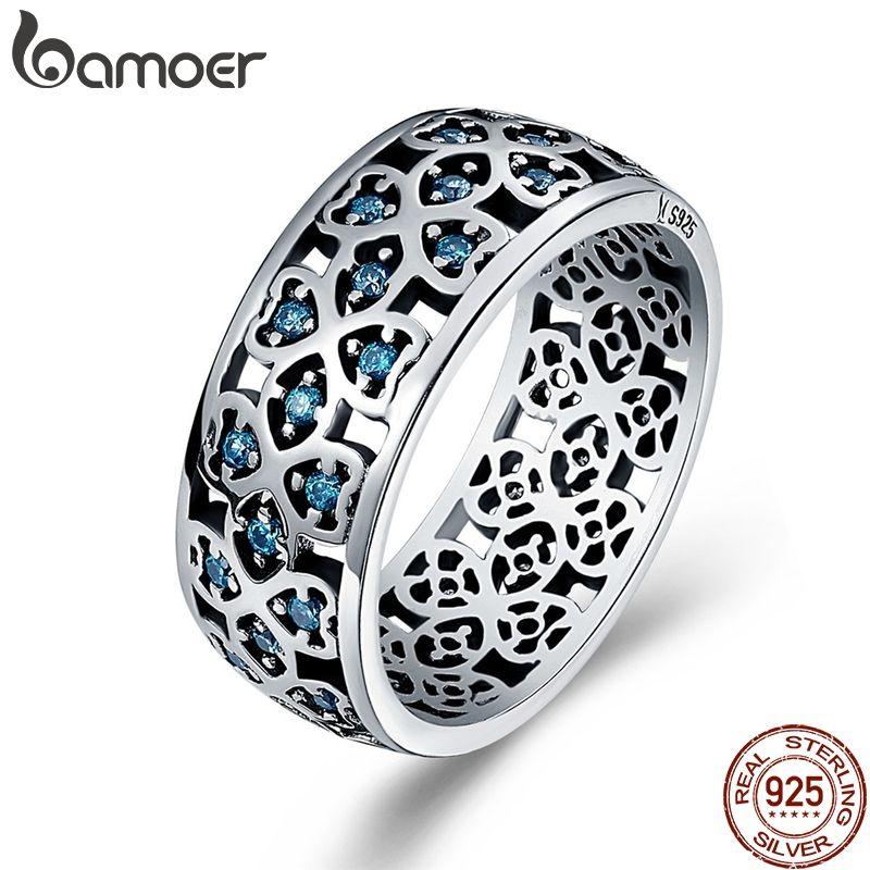 BAMOER 100% 925 Sterling Silber Blätter der Liebe Süße Clover Blau CZ Finger Ringe für Frauen Engagement Schmuck S925 Geschenk SCR064