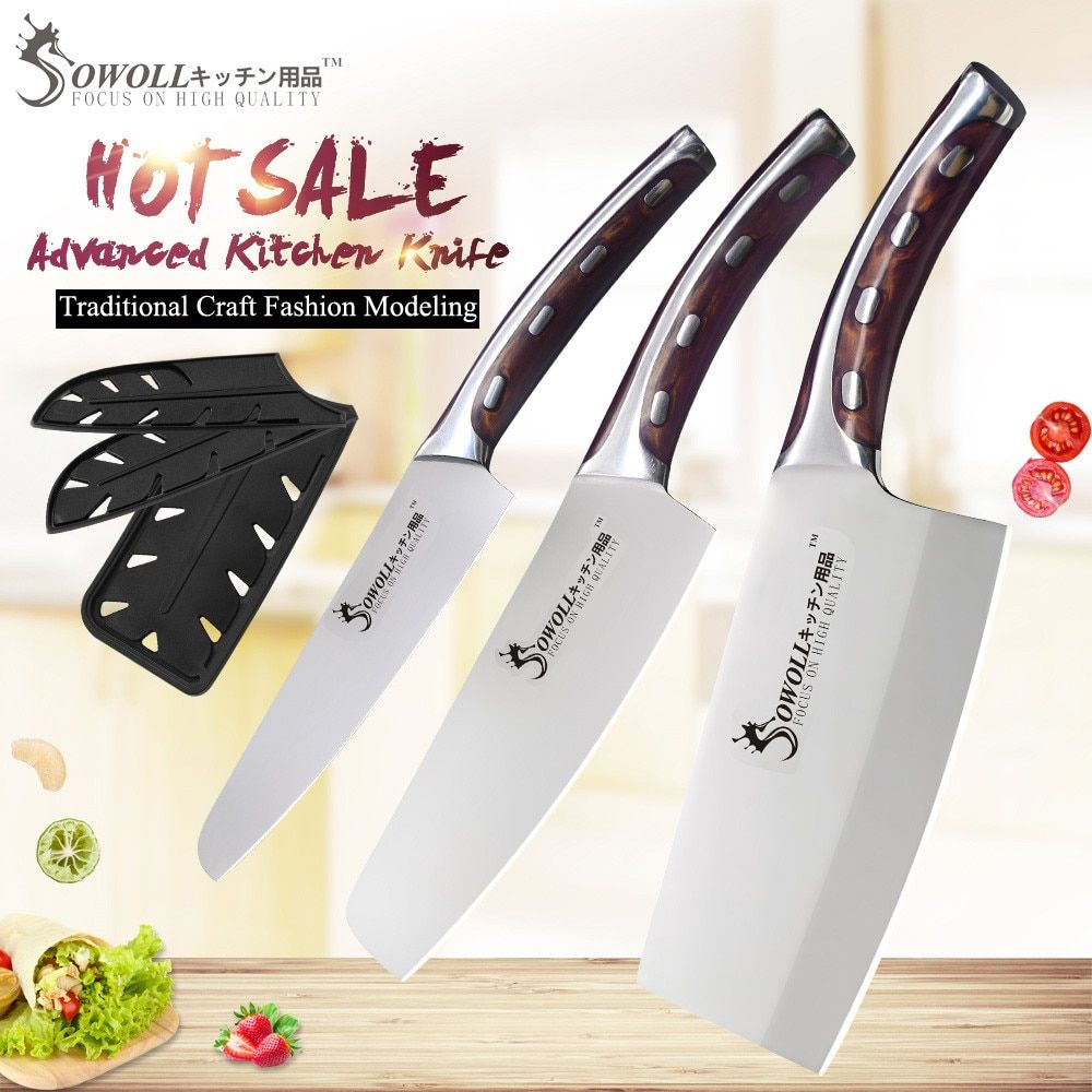 SOWOLL 4cr14mov Stainless Steel Kitchen Knife Set Chopping Chef Cleaver Knife Super Sharp Blade Comfortable Handle Knives Set