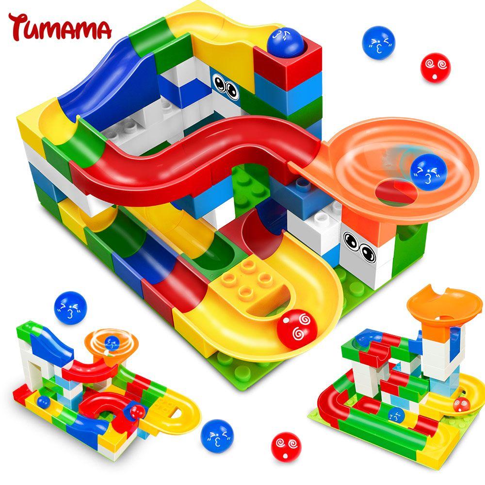 Tumama 52pcs DIY Construction Marble Race Run Maze <font><b>Balls</b></font> Track Kids Children Gaming Building Blocks Toys Compatible With Duplo
