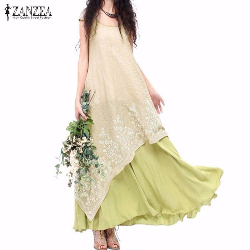 ZANZEA Women Dress 2018 Summer Casual Loose O Neck Short Sleeve Floral Embroidery Long Maxi Dress Vintage Vestidos High <font><b>Quality</b></font>