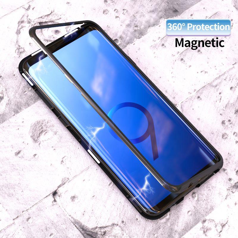 Adsorption magnétique Flip Cas pour Samsung Galaxy S8 S9 Plus Note 8 S7 S7 Bord En Verre Trempé Couverture Arrière De Luxe butoir en métal Cas