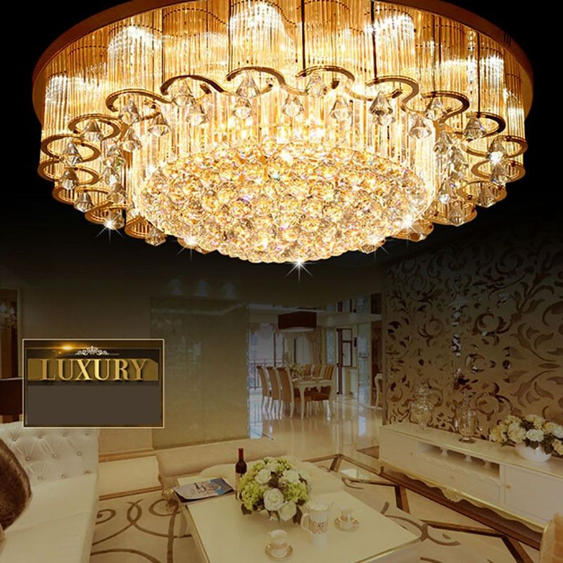 NEW Luxury Large Crystal Ceiling Lights With LED Chips Circular Flower Lamps For Foyer Hotel Engineering Lights!