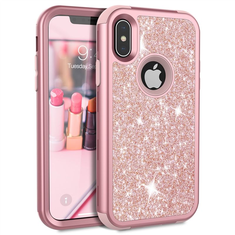 Grandever Case For iPhone 7 8 Plus 6 6s X Case Silicone PC Bumper Rose Gold Bling Luxury Glitter Phone Case For Girls Women