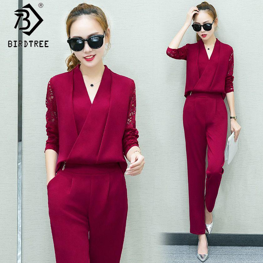 Fashion New 2018 Women 2 Piece Set Women Suit Female Long Sleeve Lace Work Clothes Trousers Two-Piece Sets Foot Trousers S7D008A