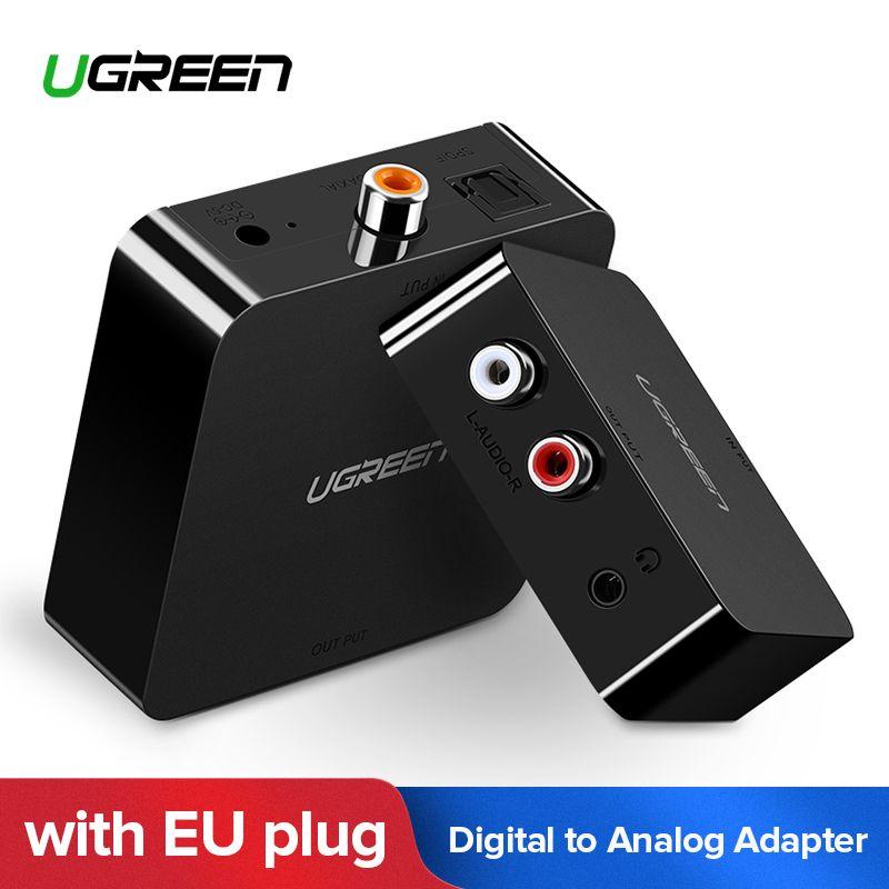 Ugreen Digital zu Analog Audio Adapter Optische Toslink Koaxial zu Analog R/L RCA Konverter mit 3,5mm Jack mit EU Stecker Adapter