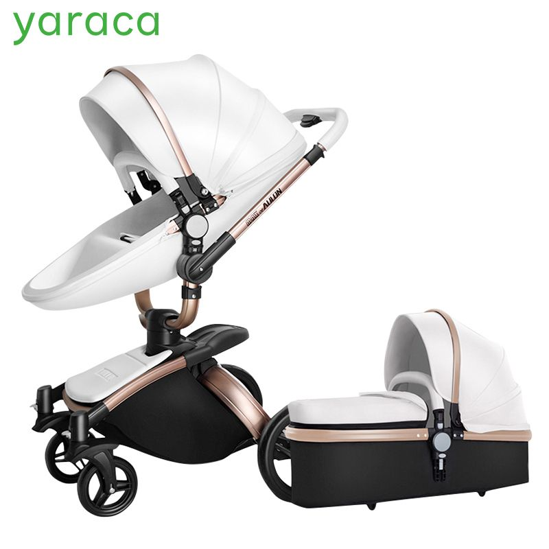 2 in 1 Luxury Baby Stroller With Separate Carrycot Black Frame 360 Degree Rotation Baby Carriage High-landscape Pram For Newborn