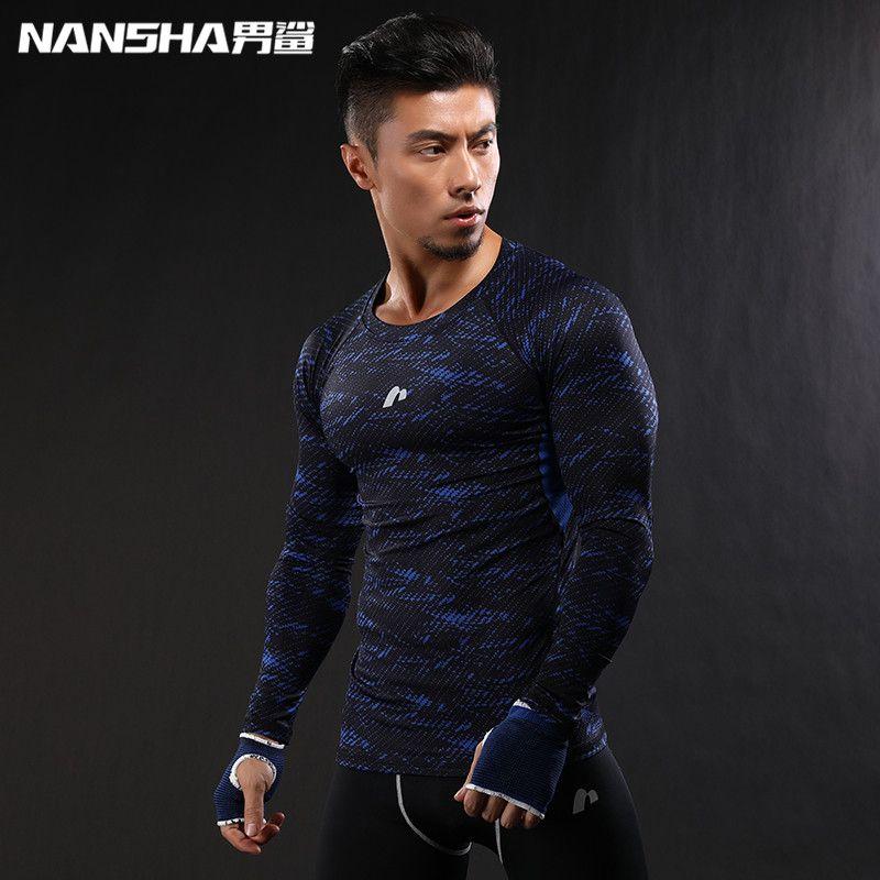 2017 date impression 3D à manches longues t-shirt Fitness hommes Bodybuilding NANSHA marque Compression chemises vêtements M-XXL