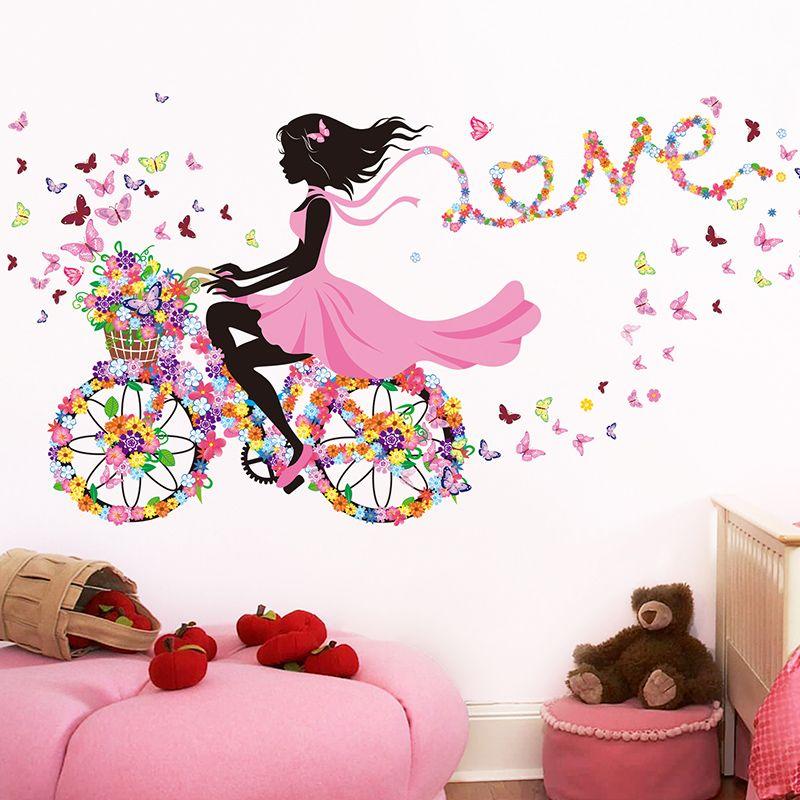 [SHIJUEHEZI] Stickers muraux fille fée vinyle bricolage papillons Stickers muraux vélo pour enfants chambres maternelle chambre décoration