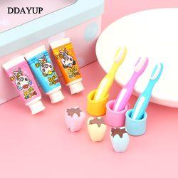 4 unids/set creativo Pasta de dientes cepillo de dientes taza Gomas de borrar para niños regalo limpiador material escolar papelería