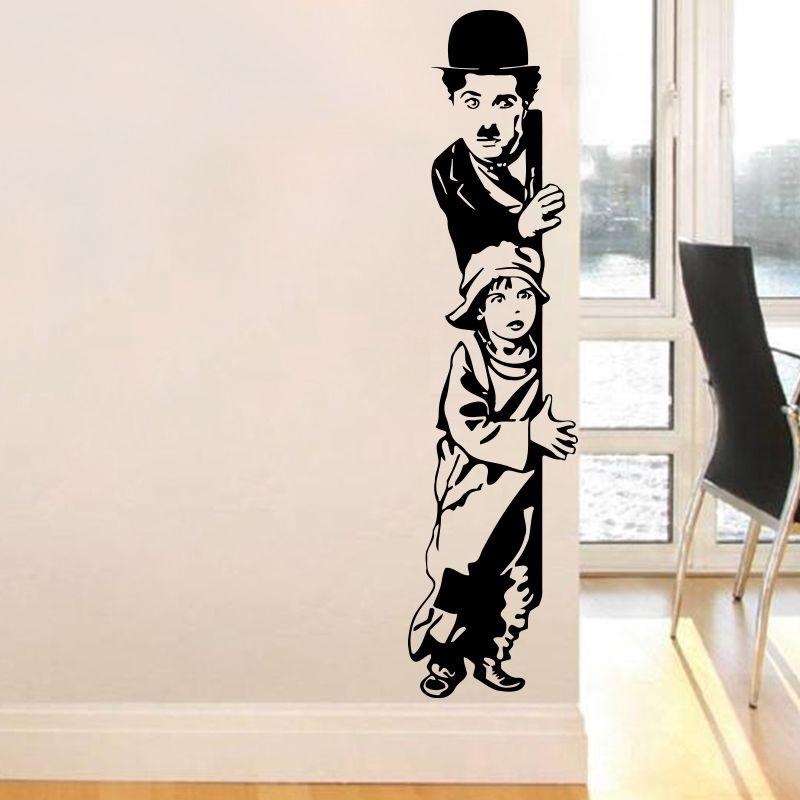 Art Decor chaplin the kid stickers muraux vinyle film star sticker mural décoration de maison pour la salle de séjour chambre d'enfants livraison gratuite
