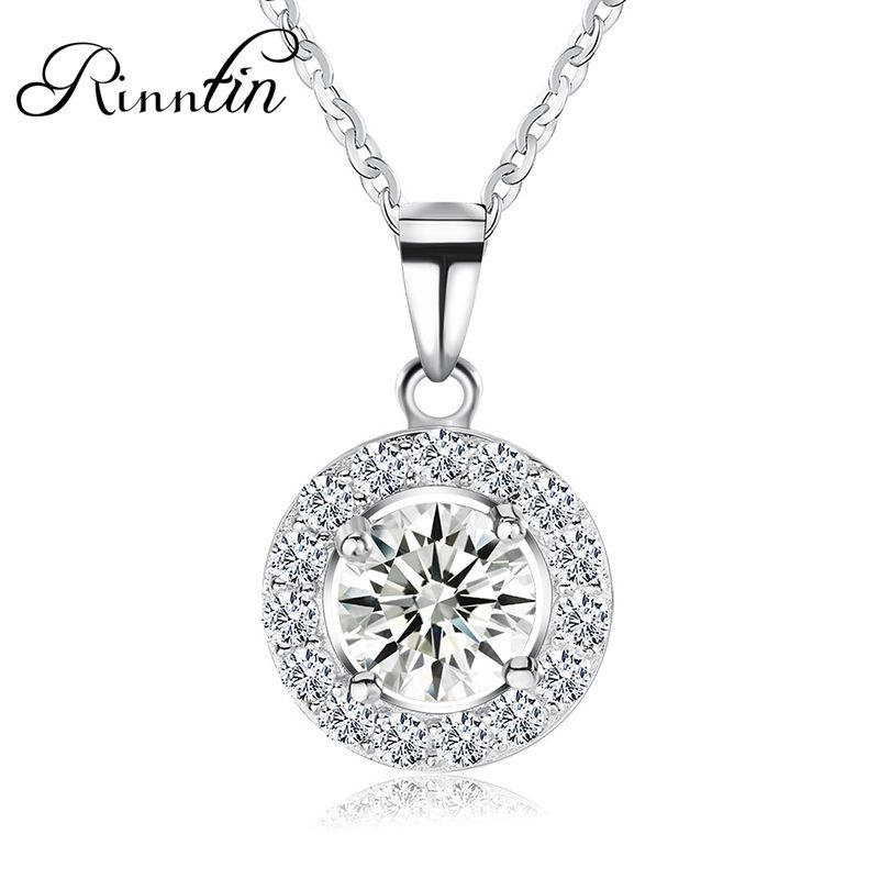 Rinntin Real S925 Sterling Silver Necklace for Women Fashion Cubic Zircon Round Pendant Necklace Elegant Female Jewelry TSN43