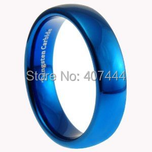 Free Shipping USA UK Canada Russia Brazil Hot Sales 6MM Shiny Blue Polished Domed Women&Men's New Fashion Tungsten Wedding Ring