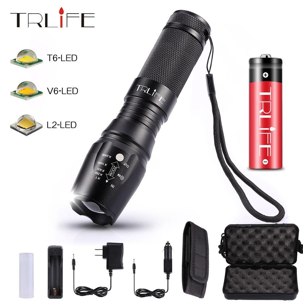 10000 Lumens V6/L2/T6 lampes de poche LED X800 Zoomable 26650 18650 torche de poche tactique en plein air Flash lampe lanterne AAA