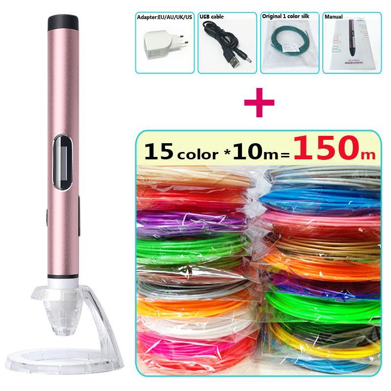 3d stylo 3d stylos À Faible température, USB-mobile power, protéger les mains 3d pen doodler Smart LED affichage 3d dessin pen-3d-pens
