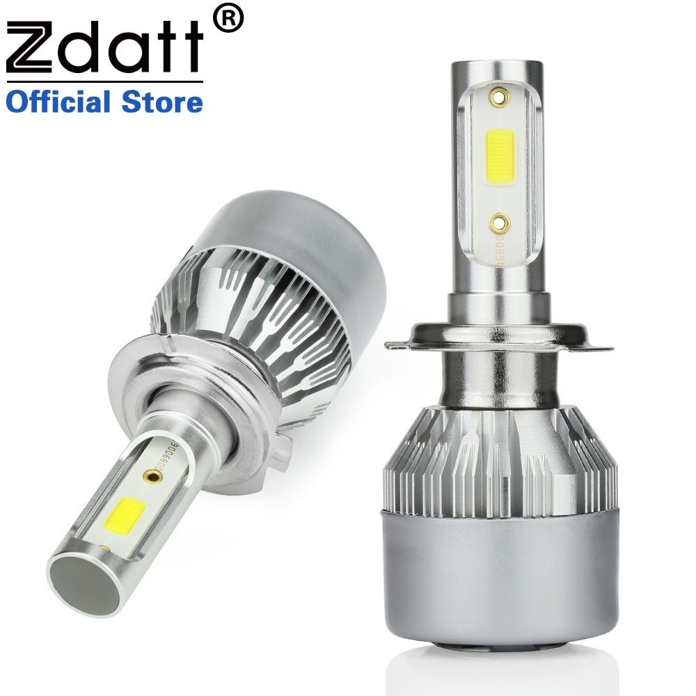 Zdatt 2 шт. h7 светодиодная лампа 80 Вт 8000lm Фары для автомобиля H1 H8 H11 HB3 9005 HB4 9006 Авто светодиодные лампы автомобильные светодиодные Белый 12 В автом...