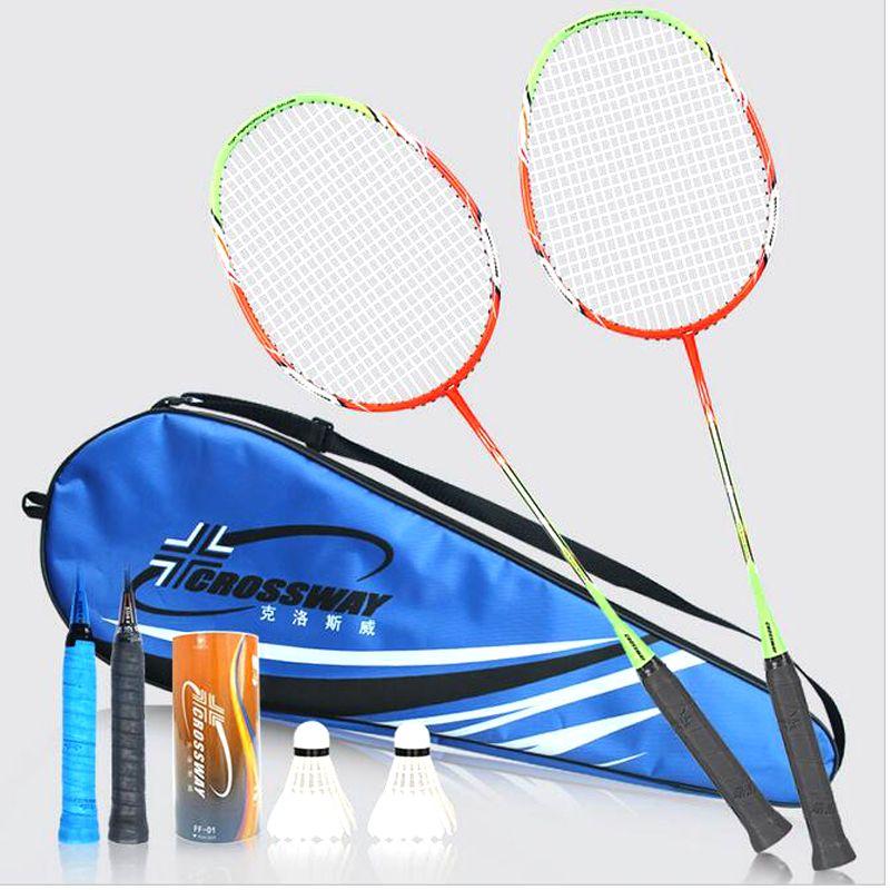 Carrefour Professionnel Badminton Raquettes Lumière Poids Carbone Raquettes De Badminton raquette de badminton 1 Paire avec Sac