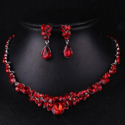 Joyería de La Novia de Lujo de la vendimia Cheongsam Rojo Accesorios de La Boda Perlas Africanas de la Joyería Waterdrop Set Maxi Collar Pendientes Establecidas